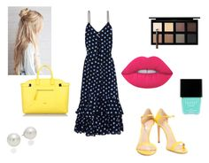 """""""Blue and Yellow"""" by eduarda-farias on Polyvore featuring moda, Boutique Moschino, Casadei, AK Anne Klein, Lime Crime, Furla, Butter London, Down to Earth, cute e yellow"""