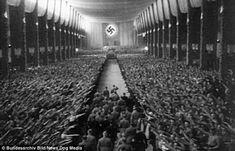 Propaganda: A shot from Leni Riefenstahl's infamous Nazi propaganda film Triumph of the Will, showing a massive Nazi rally in Nuremberg, 1934 Ww2 History, Military History, Luftwaffe, Nuremberg Rally, Leni Riefenstahl, Joseph Goebbels, Nazi Propaganda, The Third Reich, Image Shows