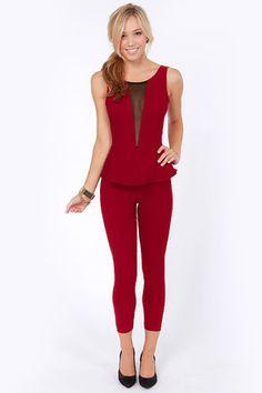 Suit Right Up Wine Red Jumpsuit at Lulus.com!
