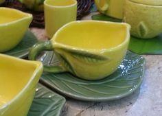 kit 2 xicara chá com pires ceramica limão siciliano mesabela