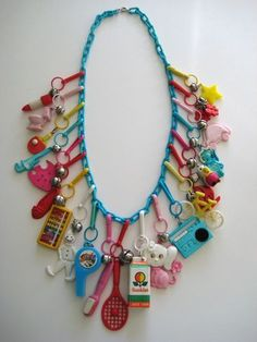 Vintage 80's Plastic Bell Clip Charm Necklace -- Good memories of my childhood
