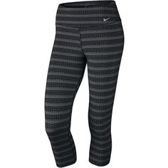 Nike Legend Zig Dot Capris ($33) ❤ liked on Polyvore featuring activewear, activewear pants, pants, bottoms, nike, nike sportswear, nike activewear and nike activewear pants