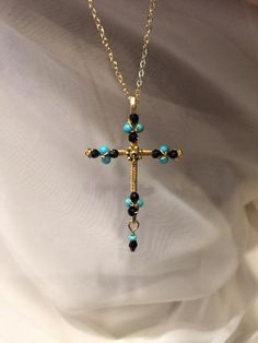 Crystal cross purple cross wire cross wire wrapped beaded cross turquoise cross black crystal cross wire wrapped beaded cross necklace wire cross beaded crucifix gold cross faith pendant spiritual pendant aloadofball Choice Image