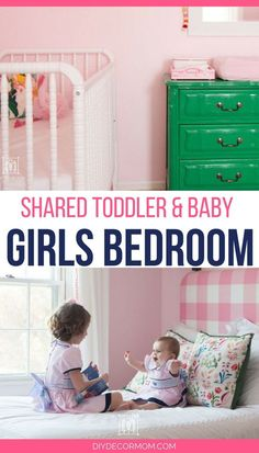 Love this shared girls room for two sisters of different ages! With beautiful decor, light pink wall color, DIY headboards, and cute organization, this toddler and baby shared bedroom has it all! Don\'t miss her best tips on sisters sharing a room and fitting a room layout with a crib and a double bed plus tons of DIY ideas for designing kid spaces!