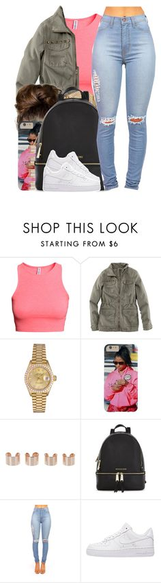 """""""Dej Loaf / Backup"""" by nasiaamiraaa ❤ liked on Polyvore featuring H&M, Rolex, Maison Margiela, Michael Kors, NIKE and NanaOutfits"""