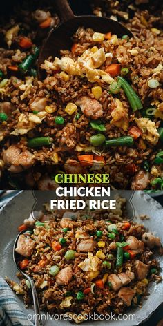 For a super-fast and delicious dinner, my chicken fried rice is there for you, full-flavored and faster than any delivery! The crispy rice is mixed with tender juicy chicken, crunchy veggies, and a sa Rice Recipes, Asian Recipes, Chicken Recipes, Dinner Recipes, Cooking Recipes, Healthy Recipes, Healthy Meals, Fried Rice Recipe Chinese, Chinese Restaurant Fried Rice Recipe