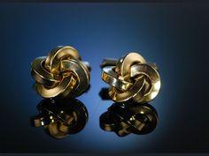 Classic Cufflinks Knot, Klassische Manschettenknöpfe Knoten Form Gold 333