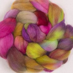Hand dyed spinning wool, Corriedale, hand painted tops, roving, spinning fibre, fiber, wool, felt, colour; Enchanted by YummyYarnsUK