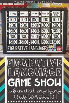 Looking for a fun and engaging way to practice figurative language?  This PowerPoint Game show is the perfect activity to review figurative language.  This game will engage your WHOLE class and covers several different types of figurative language!  Reviews similes, metaphors, personification, hyperbole, alliteration, idioms, and onomatopoeia! Fun and engaging interactive PPT game for practicing figurative language!