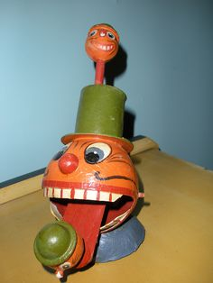 Vintage Halloween Toy ~ Very Old and Rare German Mechanical Jack O' Lantern Toy