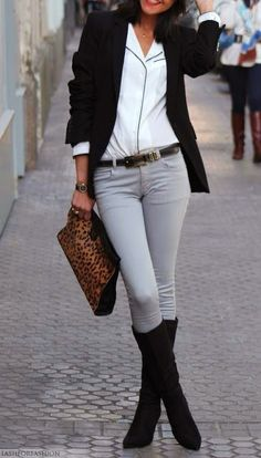 A dash of leopard works every time! Love the pale grey skinnies too! :)