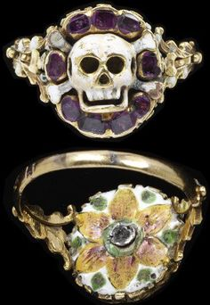 Enamelled gold ring, the bezel in the form of a skull and cross-bones in a border of rubies with an enamelled rosette behind, two marks 'CC' and 'AL[?]' in a monogram. Europe, 1550-75.