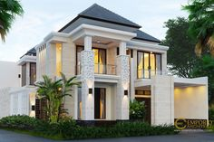 Hari Private House Design - Sanur, Bali- Quality house design of architectural services, experienced professional Bali Villa Tropical designs from Emporio Architect. Dream Home Design, Home Design Plans, Home Building Design, Building A House, Modern House Plans, Modern House Design, Villas, Classic House Exterior, Bali House