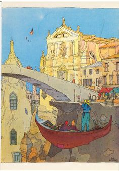 Science fantasy setting - ancient town (not castle) but show proximity to early modern/mid-modern styles against ancient backdrop with magictech. Jean Giraud, Graphic Illustration, Graphic Art, Moebius Art, Serpieri, Ligne Claire, Science Fiction Art, Art Graphique, Illustrations And Posters