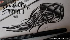 Jellyfish tattoo on sketch (on paper) new school by Evgeniy