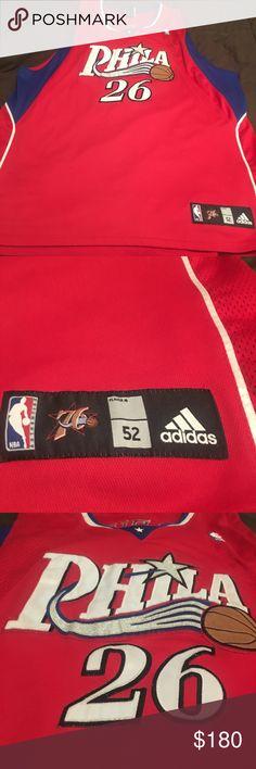a80872cd369 Adidas Retro Sixers Kyle Korver Authentic 🏀Jersey Adidas Mens Size 52  Authentic Red Philadelphia Sixers