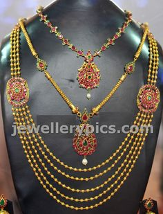 Small gundla steps haram with ruby side pendent ~ Gold Jewellery Designs