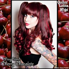 Gothic Lolita Wigs | Wavy Blend Lolita - Cherry Red & Chocolate Brown | Model: Alexa Poletti