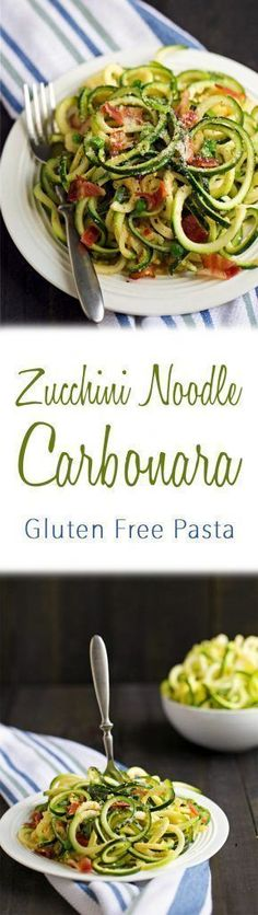 Try my gluten free & low carb Zucchini Noodle Carbonara for dinner tonight! More