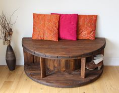 Rustic Bench/TV Stand made from a Cable Reel.
