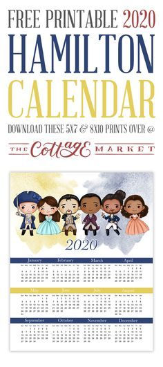 Free Printable 2020 Hamilton Calendar is waiting for you to print out and get you organized for the upcoming year! Don't miss your shot. Beach Party Games, Dinner Party Games, Sleepover Party, Party Printables, Free Printables, Harry Potter Party Games, Diet Planner, Free Printable Calendar, Free Digital Scrapbooking