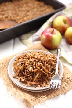 Instead of spending all your time chopping, spiralize those apples for a quick and healthy Spiralized Apple Crumble. With curly apple noodles and a crispy crumble layer this recipe will be a huge dessert hit! Apple Recipes Easy, Apple Dessert Recipes, Fall Recipes, Apple Ideas, Fruit Dessert, Veggie Recipes, Spiralizer Recipes, Vegetable Spiralizer, The Healthy Maven