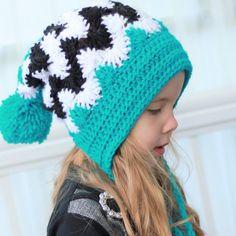 Crochet pattern Patron de crochet english / by TheEasyDesign Crochet Slouchy Hat, Slouchy Beanie, Beanie Hats, Knitted Hats, Crochet Hats, Easy Crochet Patterns, Crochet Stitches, Bonnet Pattern, Free Pattern