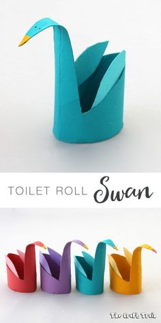 Toilet roll swans –