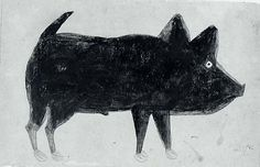Bill Traylor Art...This bears a striking resemblance to Jamie's rat bastard dog...the one that is always biting me.