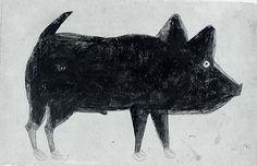 Bill Traylor (1854-1949). Black Pig. Gouache and Pencil on Cardboard.