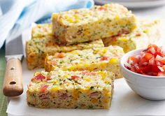 Our Corn, Bacon and Courgette Rice Slice is the perfect meal for work lunches.