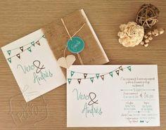 Invitaciones de boda con tipografía moderna vía De Para Invitaciones & Tarjetas