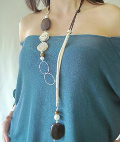 Brown long lariat seed necklace tribal necklace by DenDesign jewels