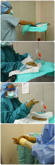 Operating Room: How to gown and glove. The last picture shows double gloving which most scrubs do now.