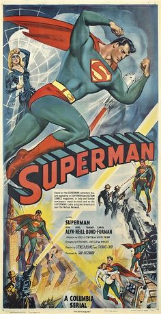 Superman turns 75 this year and we're celebrating with this extremely rare poster. Available in our Vintage Posters sale on October in South Kensington. Anonymous SUPERMAN Columbia, U. Superman Comic, Poster Superman, Superman Movies, Superman Family, Dc Comics, Action Comics 1, Retro Poster, Movie Poster Art, Old Movies