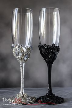 Black and Silver Personalized Wedding Set Champagne Flutes Mr