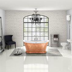 42 Awesome Traditional Bath Up Ideas Small Attic Bathroom, Big Bathrooms, Master Bathroom, Victorian Bath, Victorian House, Bedroom With Bath, Dream Bedroom, Traditional Baths, Copper Bathroom