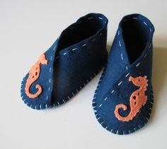 Seahorse Baby Bootie KIT - Wool Felt - Do It Yourself - Materials and Instructions by FeltOnTheFly on Etsy https://www.etsy.com/listing/168806657/seahorse-baby-bootie-kit-wool-felt-do-it