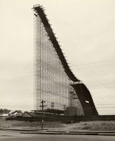 Temporary ski jumps    Empire Stadium in Vancouver was home to this towering wonder in 1954.