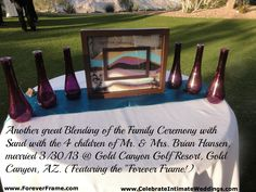 Use the Blending of the Sands Ceremony to blend the family together and let each child choose their own color. ~ http://celebrateintimateweddings.wordpress.com/2010/10/29/the-blending-of-the-sands-with-a-new-twist-the-forever-frame/