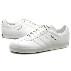 best service fcef6 e9f66 Adidas Gazelles leather  Mens Adidas Gazelle II White Leather Trainers -  Adidas Trainers Adidas,
