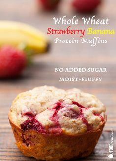 Whole Wheat Banana Strawberry Protein Muffins Recipe - no added sugar, moist and not rubbery at all. Made only with whole wheat flour, whey protein powder and fresh strawberries. | ifoodreal.com
