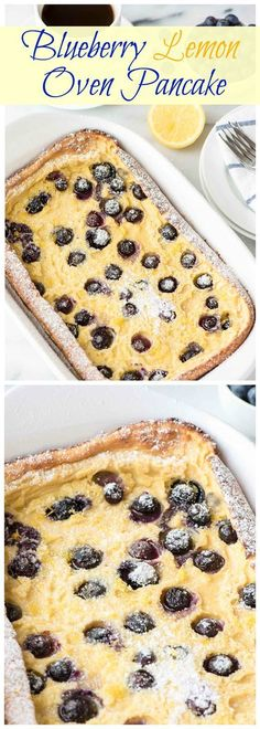 A bright and beautiful German Oven Pancake with fresh blueberries and lemon zest. Only 5 minutes to prep and a family favorite! Find the recipe at www.wellplated.com @wellplated