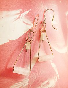 Rose quartz earrings Hand made earwires Gold by MADAMBLUEONE, $17.00