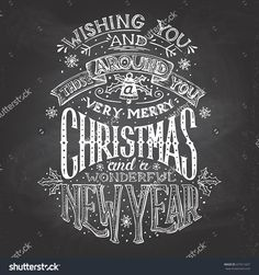 Vintage Hand-Lettering Christmas And New Year Wishes With Chalk On ...