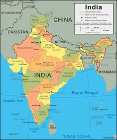 A political map of India and a large satellite image from Landsat. World Geography Map, Teaching Geography, History Education, Teaching History, India World Map, India Destinations, Word Map, States And Capitals, American History Lessons
