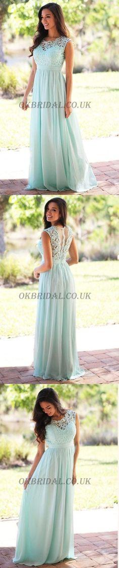 Lace Bridesmaid Dress, Sleeveless Bridesmaid Dress, Chiffon Bridesmaid Dress #okbridal #Bridesmaiddressideas