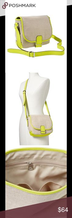 """Gap Crossbody Purse Brand new Gap crossbody bag, purse. Fits all your essentials (wallet, sunglasses, phone, etc.). The size is perfect for a crossbody. It helps when you need to be hands free and gives a bit of pop to make you stand out from the rest. Neon trim is very bright.  - 8""""H x 9""""L x 3.5""""W - Shell: 52% cotton, 48% jute. - Trim: 100% leather. - Canvas with neon trimmings. - Flap with snap closure underneath. Interior zip and pouch pockets. - Bright neon hues, it really pops in…"""