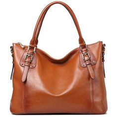Kattee Vintage Genuine Soft Leather Large Tote Shoulder Bag ($100) ❤ liked on Polyvore featuring bags, handbags, purses, hand bags, handbags totes, leather handbags, leather tote handbags and vintage leather tote