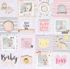 Layout: **Crate Paper** Baby Love - Check out this stunning baby layout in the Scrapbook.com Gallery using a grid design to showcase 4 photos and many adorable Crate Paper designs.